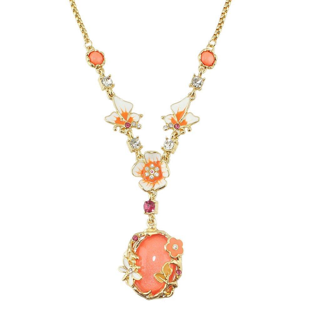 Feelontop® New Jewelry Imitation Gemstone Flower Wedding Pendant Necklace NC-6928