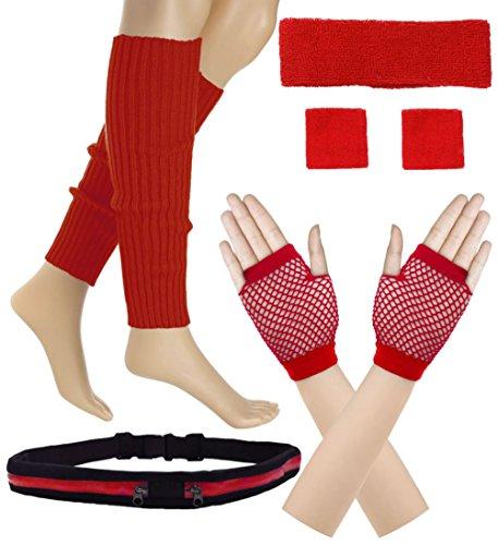 Women 80s Set Neon Knit Headband Wristbands Leg Warmers (Red) ()