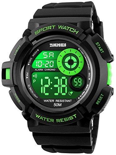 Fanmis Military Mens Sport Watches Multi Function Digital Alarm Waterproof Black Rubber Strap (Multifunction Black Rubber Watch)