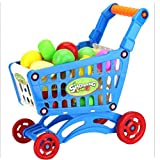 GreatFun High Simulation Shopping Carts Pretended Play Children Kid Wisdom Educational Toy with Fruits Vegetables (Blue)