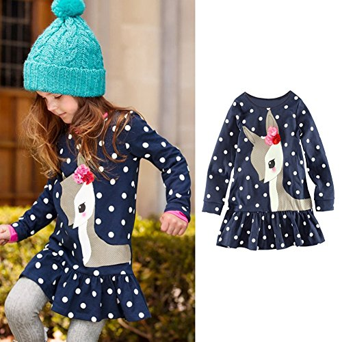 Diamondo Toddler Baby Girls Kids Autumn Clothes Long Sleeve Party Deer Tops T-Shirt (6T)