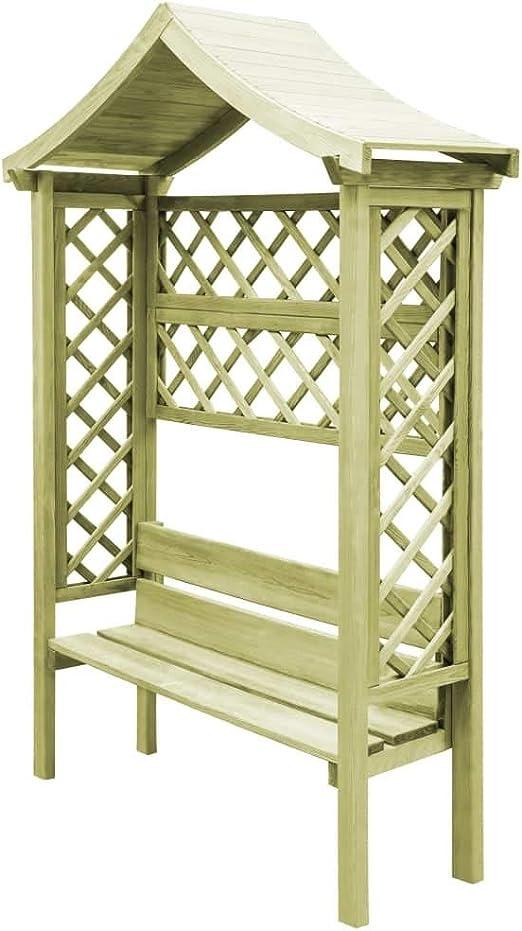 Premium Garten-Pergola con Banco y Techo 146 x 55 x 220 cm š de ...