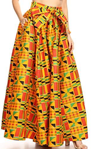 Sakkas 19417 - Ami Women's Maxi Long African Ankara Print Skirt Pockets & Elastic Waist - 1066-Orange/black-tribal - OS (Long Tribal Print Skirts)