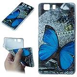 Beiuns para Doogee Galicia X5 / X5 Pro (5 pulgadas) Carcasa de TPU y silicona Funda - O504 La mariposa azul