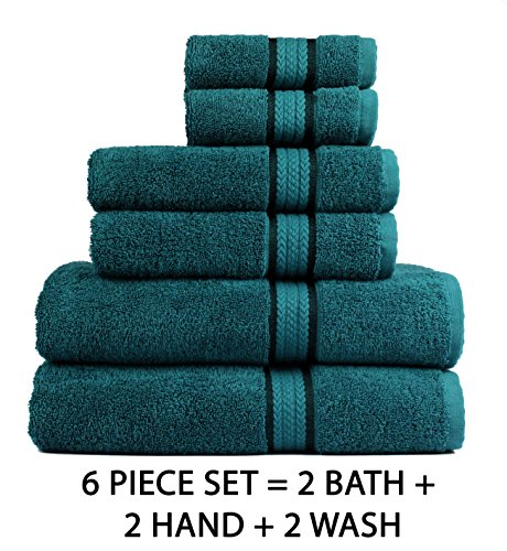 Cotton Craft Ultra Soft 6 Piece Towel Set Teal, Luxurious 100% Ringspun Cotton, Heavy Weight & Absorbent, Rayon Trim - 2 Oversized Large Bath Towels 30x54, 2 Hand Towels 16x28, 2 Wash Cloths 12x12 by Cotton Craft