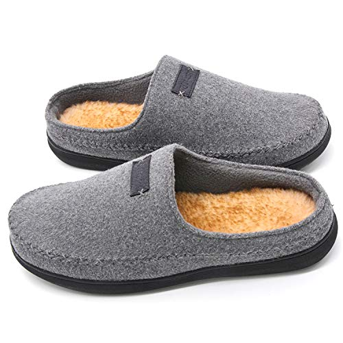 Zigzagger Men's Suede Moccasin Slippers Memory Foam Slip On Clog House Shoes Indoor Outdoor, Light Grey, 11-12 D(M) US