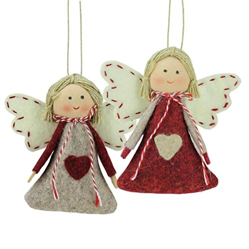 """Northlight Set of 2 Gray and Red Girl Angel Christmas Ornaments 3.5"""""""