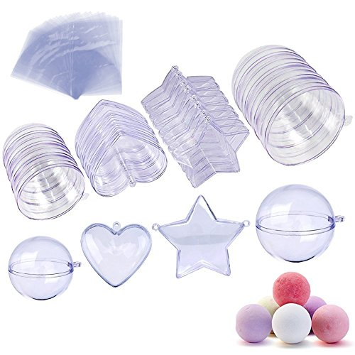 JUSLIN Bath Bomb Mold, 20 Sets Heart Ball Star Shape DIY Plastic Bath Bomb Mold with Shrink Wrap Bags for Christmas and Party Decorations(C)