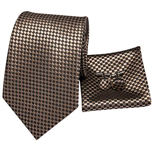 - Hi-Tie Men Brown Check Plaid Tie Necktie with Cufflinks and Pocket Square Tie Set