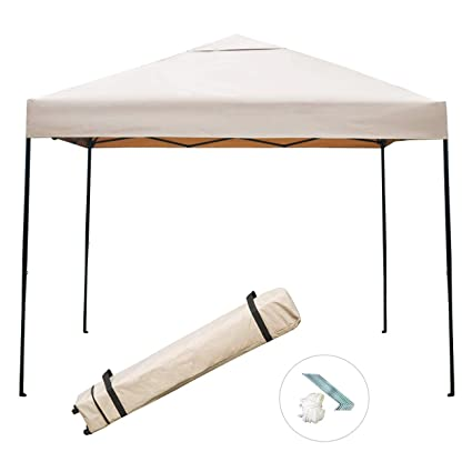 Sunnyglade 10'x10' Pop-up Canopy Tent Commercial Instant Tents Market Stall  Portable Shade Instant Folding Canopy with Roller Bag (Tan)