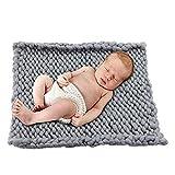 "JollyAndVector Chunky Knit Blanket Handmade Throw Bulky Knitting Blanket for Bedroom Bed Chair Sofa Pet Mat Rug Home Decor (Grey, 20""x20"")"