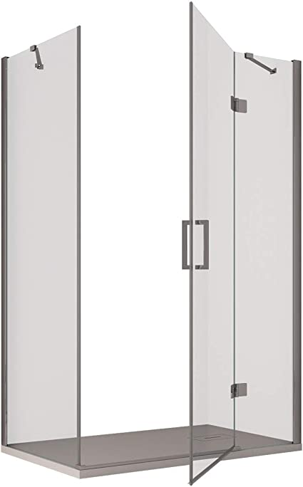 Olimpo - Mampara de Ducha Angular H195, Puerta batiente Transparente, 8 mm, 75 x 110: Amazon.es: Hogar