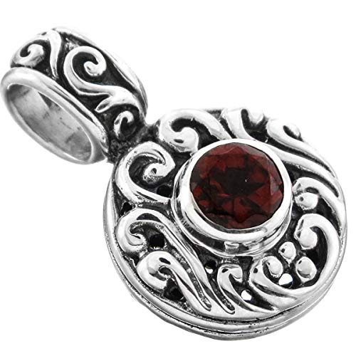 (7/8'' Dainty Bali Scroll RED Garnet 925 Sterling Silver Pendant YE-895 )