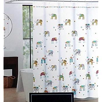 Cynthia Rowley Indian Elephant Fabric Shower Curtain 72 Inch By