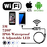 WiFi Wireless Digital Endoscope Borescope Snake Inspection Camera System for iphone iOS ipad Samsung Android Smartphone Cellphone with 6 led light, 9mm, 2 Megapixels, 720P HD, IP66 Waterproof - 5M