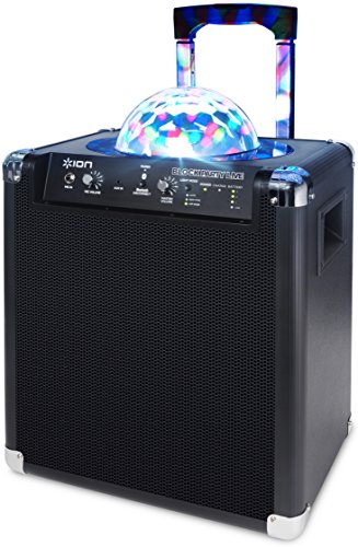 ION Audio Block Party Live 50 Watt Portable Bluetooth Speaker System with Party Lights, Wheels & Handle