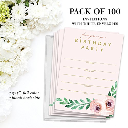 Birthday Party Invitations ( 100 ) & Matched Thank You Notes ( 100 ) Set with Envelopes, Great for Large Celebration Female Girl Young Woman Birthday Fill-in Invites & Blank Thank You Cards Best Value by Digibuddha (Image #4)