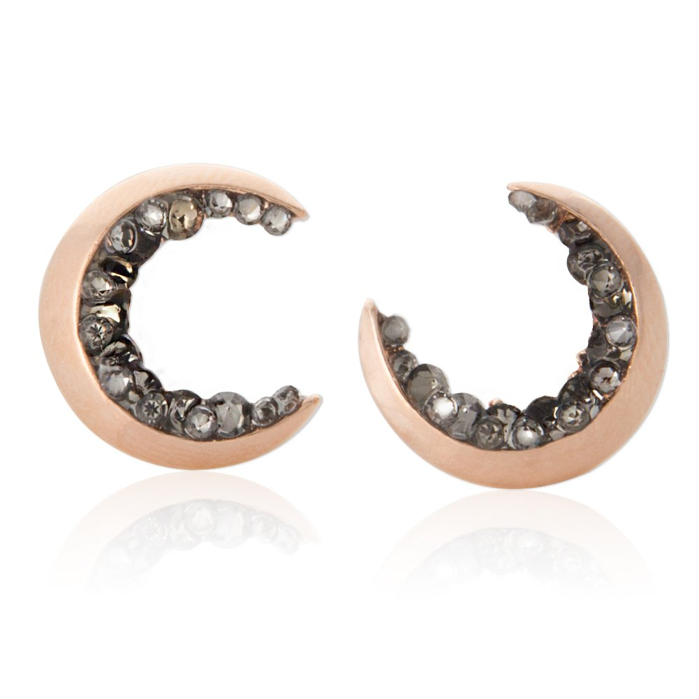 Laonato Crescent Moon and Black CZ Earrings (Rose Gold)