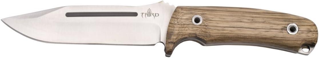 THIRD Cuchillo de Caza H0182J con Hoja de Acero de 13,2 cm, Mango de Madera (zebrano). Incluye Funda de Piel