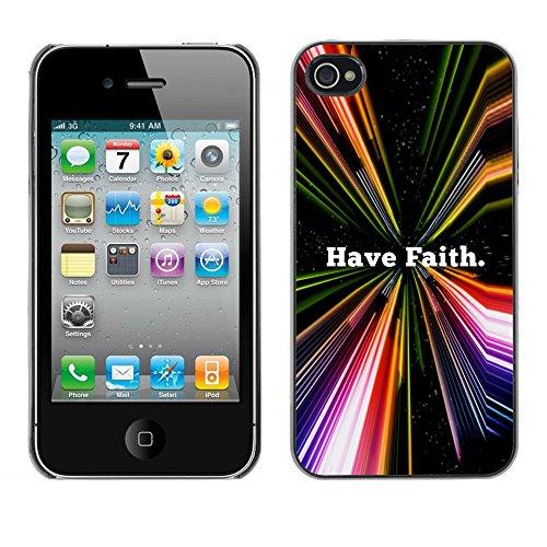 DREAMCASE Citation de Bible Coque de Protection Image Rigide Etui solide Housse T¨¦l¨¦phone Case Pour APPLE IPHONE 4 / 4S - HAVE FAITH