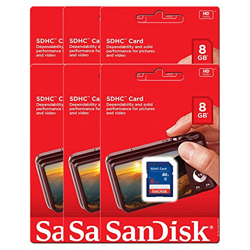 6 Piece SDSDB-008G Sandisk 8GB SD SDHC memory card for Stealth Cam G45NG G42NG G42C G34 G30