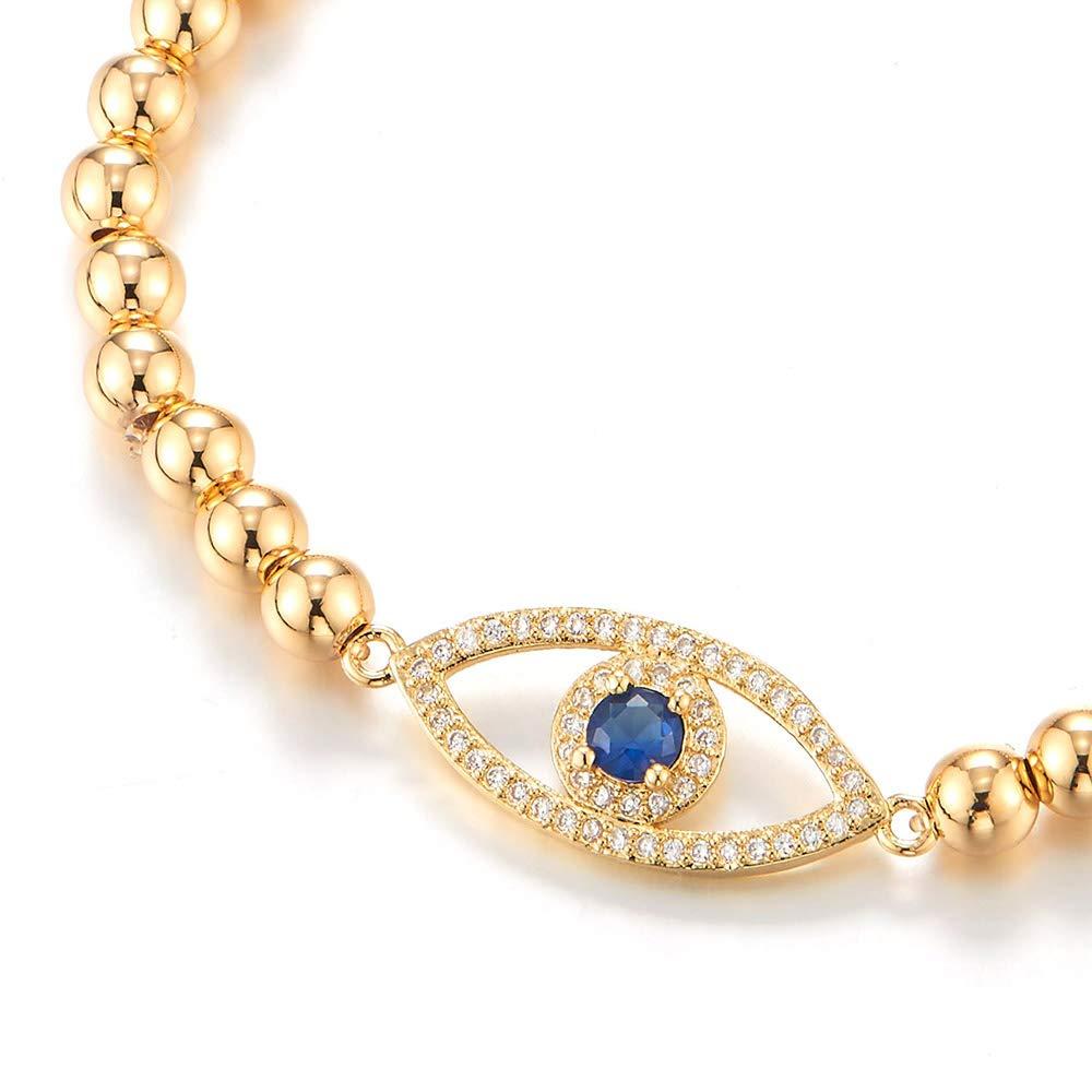 """Mauvais Oeil Strass Perles Guérison Chaîne bracelt 7/"""" réglable avec Cadeau Gratuit Box"""