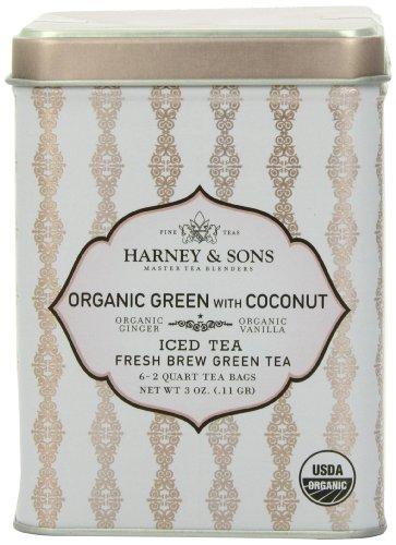 Harney & Sons Green Iced Tea, Organic Coconut, 6 Tea Bags