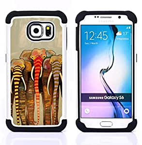 """Pulsar ( Pintura África Beige Arte"""" ) Samsung Galaxy S6 / SM-G920 SM-G920 híbrida Heavy Duty Impact pesado deber de protección a los choques caso Carcasa de parachoques [Ne"""
