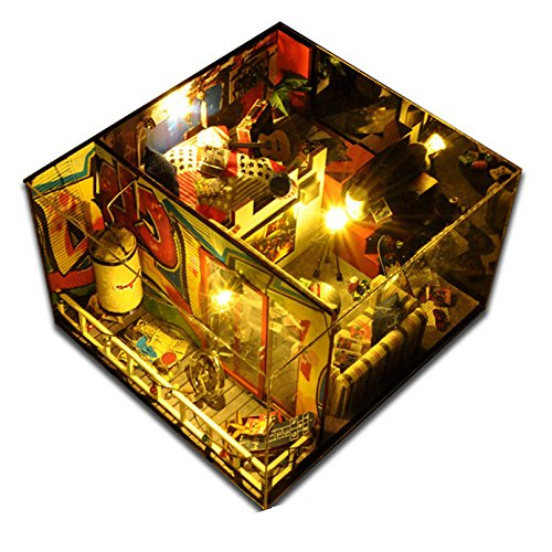 [Miniature Doll House Dollhouses Furniture Toys Décor Gifts Accessories Miniature Wood Doll House Furniture DIY Dollhouse Kit Assembling Toys for Gift,