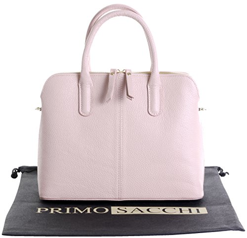 Italian Textured Leather Hand Made Bowling Style Tote Grab Bag or Shoulder Bag. Includes a Branded Protective Storage Bag