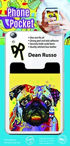 Enjoy It Dean Russo Pug Phone Pocket - Peel and Stick Phone Wallet Credit Card Holder for Smartphones