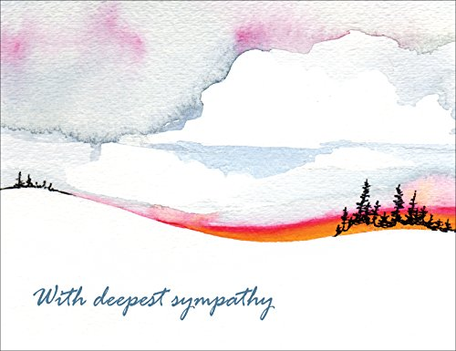 Sympathy Cards - With Deepest Sympathy - Horizons Condolence Cards Set of 12 Blank Note Cards With Envelopes