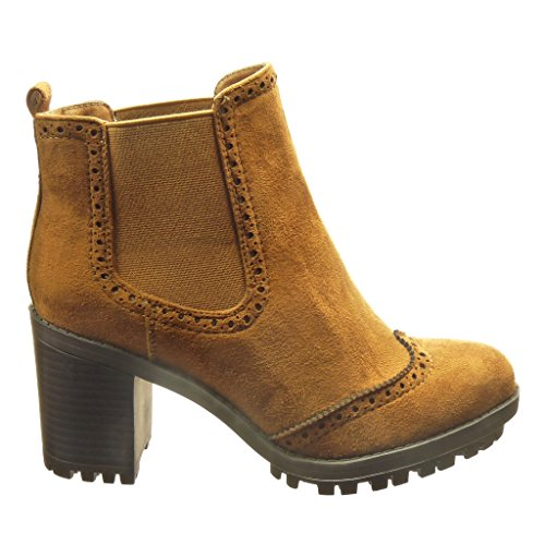 Angkorly Women's Fashion Shoes Ankle Boots - Booty - Chelsea Boots - Combat Boots - Perforated Block High Heel 7 cm cm Camel jvI8x5drZ