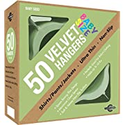 Closet Complete Baby Size, Premium Heavyweight, Velvet Hangers – Ultra-Thin, Space Saving, No-Slip, Perfectly Sized For Babies 0-48 months, Green, Set of 50