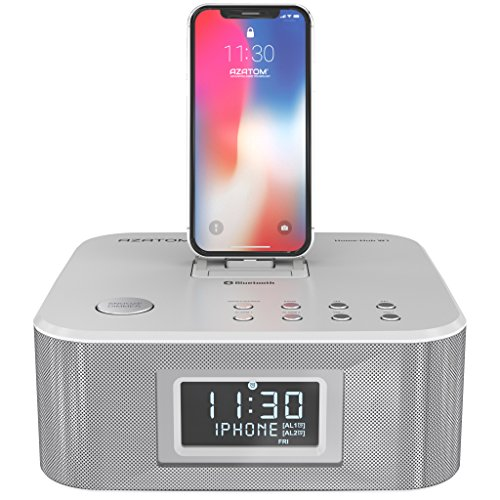 AZATOM Homehub Clock Radio Alarm Lightning Docking station 30W Bluetooth...