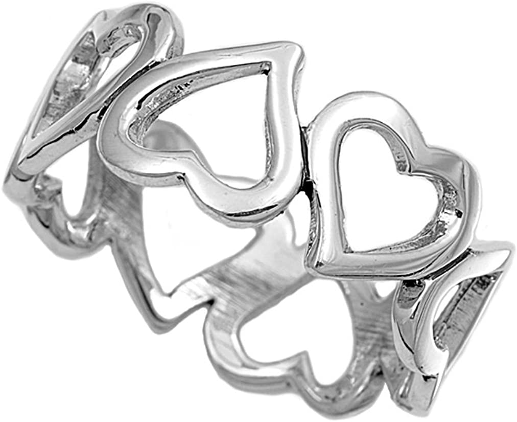 Princess Kylie 925 Sterling Silver Simple Heart Style Ring