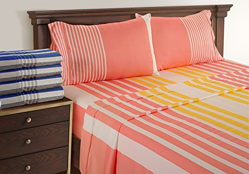 100 % Cotton Sheets Queen - Printed Sheets Soft - Coral Sheets With Deep Pocket By Linenwalas, India ( Yellow Rose Gold Stripes, Queen) - Printed Coral