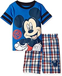 Disney Baby Toddler Boys\' 2 Piece Mickey Mouse T-Shirt and Plaid Short Set, Blue, 2t