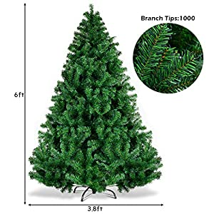Goplus Christmas Tree Artificial Premium Hinged Spruce Full Tree with Solid Metal Stand 2