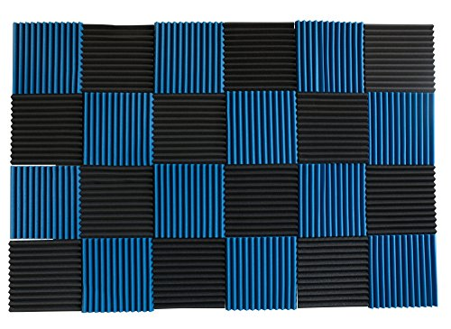 24 Pack - Ice Blue/Charcoal Acoustic Panels Studio Foam Wedges 1