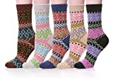 Womens Colourful Soft Cotton Vintage Style Thick Wool Warm Winter Crew Socks 5 Pairs (Mixed Color B)