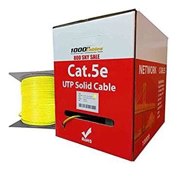 Image of 1000FTCables CAT5e Plenum (1000 Feet) Bulk 350MHz Networking Ethernet CMP Cable (Yellow) Cat 5e Cables