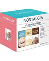 NOSTALGIA Ice Cream Starter Kit | Makes 4 Quarts | French Vanilla & Chocolate | Include Rock Salt