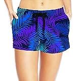 Female Elastic Summer Shorts - 3 Color Fine Leaves