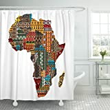Breezat Shower Curtain African Africa Map with Countries Made of Ethnic Abstract Waterproof Polyester Fabric 60 x 72 Inches Set with Hooks