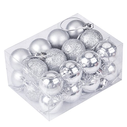 Emmababy 24Pcs Christmas Tree Decoration Ball Pendants Holiday Party Christmas Tree Ornaments (Silver)