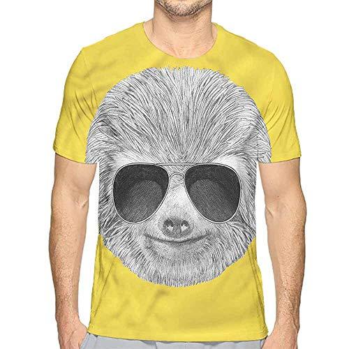 Mens t Shirt Sloth,Hipster Animal Sunglasses HD Print t Shirt S