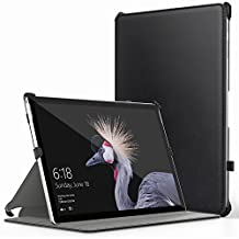 MoKo Microsoft New Surface Pro 2017 / Surface Pro 4 / Surface Pro 3 Case - Genuine Leather Slim-Fit Multi-angle Folio Cover Case for New Surface Pro / Pro 4 / Pro 3 12.3 Inch Tablet, BLACK