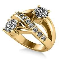 "14k Gold Allurez Diamond Pave ""Ever Together"" 2-Stone Ring in"