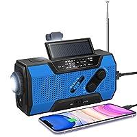 Emergency Solar Hand Crank Radio-NOAA Weather Radio with AM/FM 2000mAhPower Bank SOS Alarm LED Flashlight Reading Lamp for Household Outdoor Hurricane Storm